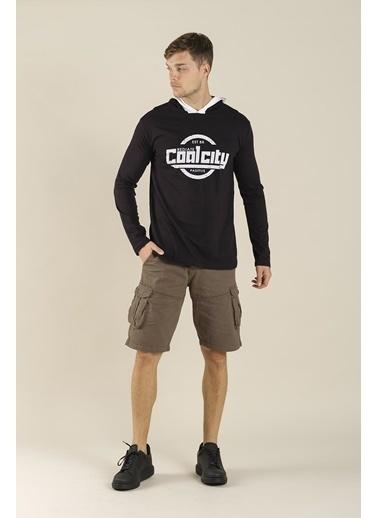 Oksit Coll City Donald Slim Fit Mevsimlik Kapüşonlu Sweatshirt  Siyah